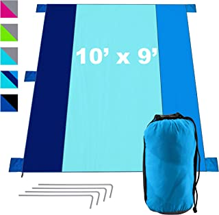 KOR Outdoors Sandfree Beach Blanket - Oversized 9x10 Foot - Fits 7 Adults - Travel, Picnic, Park, Sports, Music, Camping T...