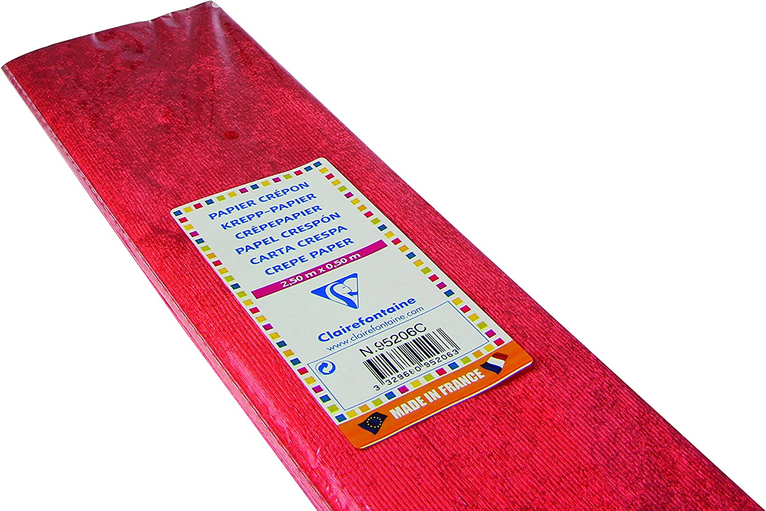 (Red)  Clairefontaine Metallic Crepe Paper Roll, 2.50x0.50m, 60%  Red