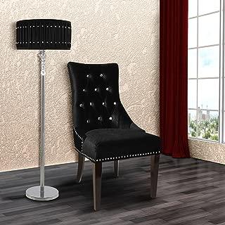 Armen Living Carlyle Side Chair in Black Velvet and Black Wood Finish