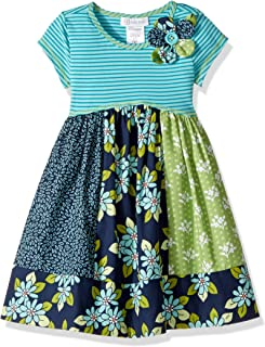 Girls' Knit to Cotton Poplin Print Dress