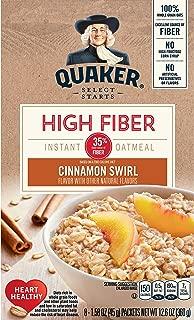 Quaker Instant Oatmeal High Fiber, Cinnamon Swirl, 12.6 Oz