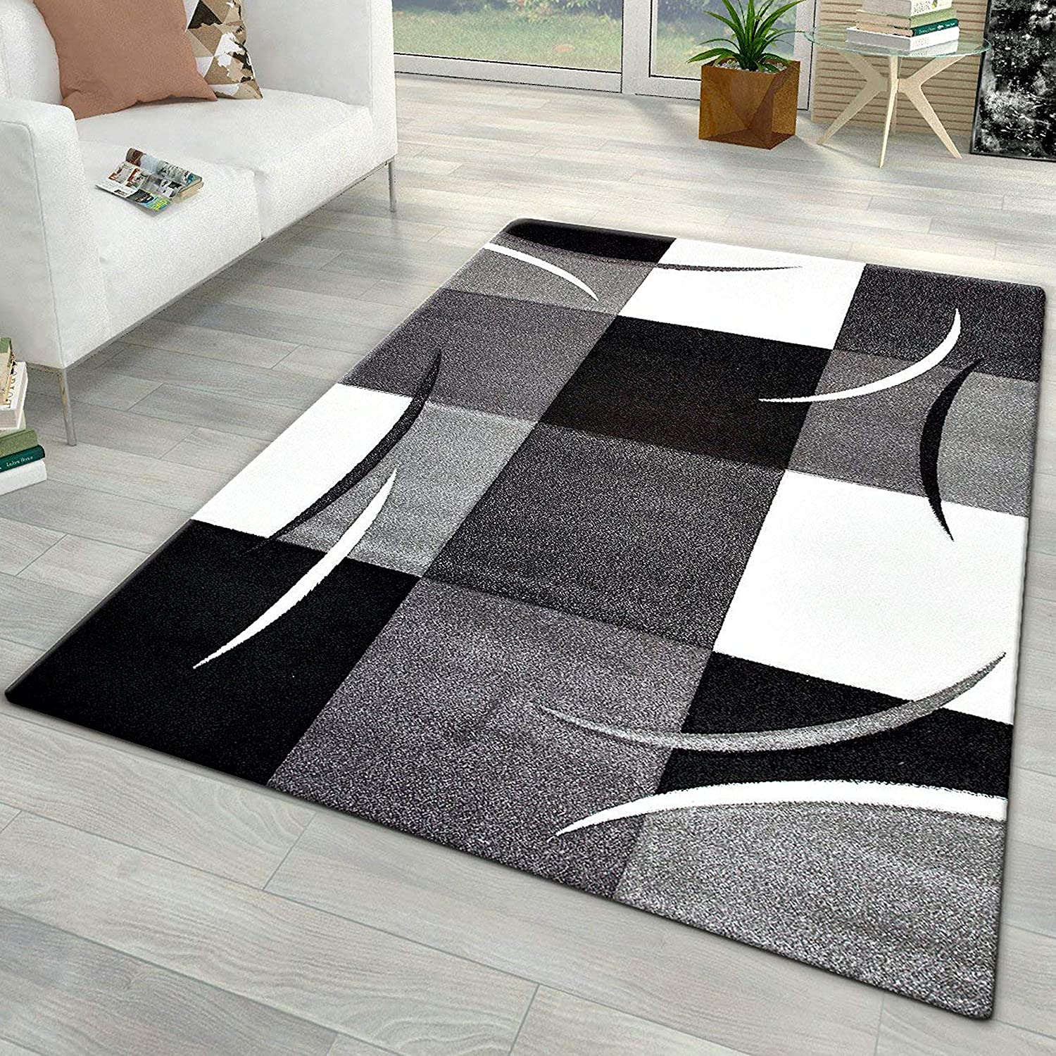Xrug Modern Rugs For Living Room Grey Black White Carpet Mat Check Design Small Large 160x230cm 5 3 X7 7 Amazon Co Uk Kitchen Home
