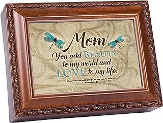 Cottage Garden Mom You Add Beauty to World Dragonfly Woodgrain Keepsake Music Box Plays Amazing Grace