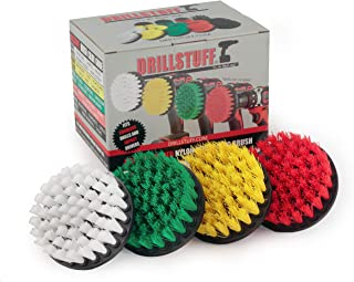 Drill Brush Attachment Power Scrubber Brush Set – 4in 4 Piece Soft, Medium and..