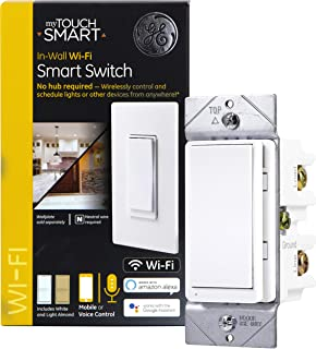 GE myTouchSmart WiFi Smart, Wall Light Switch, ON/Off, Countdown, Presets, Schedules, Easy One Touch Programming, No Hub Required, Compatible with Alexa, Google Assistant, 40792, White & Light Almond
