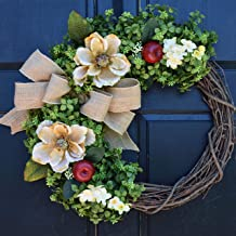 Magnolia, Red Apple and Boxwood Grapevine Wreath with Floral Accents and Burlap Bow for Year Round Summer Fall Front Door Decor; Personalized Monogram Option
