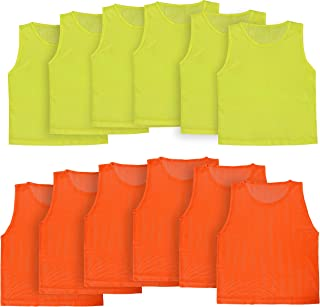 Athllete LITEMESH Pinnies Scrimmage Vests Team Practice Jersey for Children Youth Teen & Adult Sports (12 Jerseys)