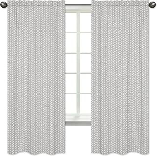 Sweet Jojo Designs Grey and White Boho Herringbone Arrow Window Treatment Panels Curtains for Gray Woodland Forest Friends Collection - Set of 2