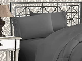 Elegant Comfort Luxurious 1500 Thread Count Egyptian Three Line Embroidered Softest..