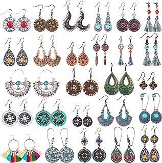 Duufin 26 Pairs Boho Earrings Women Vintage Drop Dangle Earrings Tassels Bohemian Earrings for Women Girls