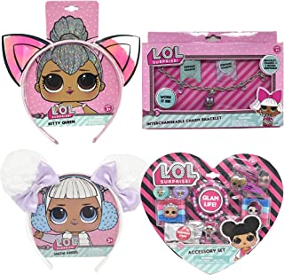 LUV HER 4 Set LOL Surprise Bundle 2 Headbands, Bracelet Charm, and Hair Accessories - Pink with Ears and White with Pom Poms