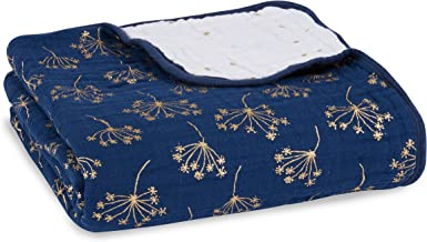 aden + anais Metallic Dream Blanket | 100% Viscose Bamboo Muslin Baby Blankets for Girls & Boys | Ideal Newborn Nursery & Crib Blanket | Unisex Toddler & Infant Bedding | Gold Deco Dandelion