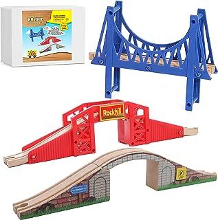 On Track USA Bridge Accessory Train Set: Suspension, Overpass and Arch Bridge Set Compatible with Thomas, Brio, Chuggington, Imaginarium, Melissa and Doug