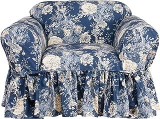 Surefit Ballad Bouquet by Waverly One Piece Chair Slipcover - Indigo (SF44714)