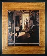 JD Creation 59.85x71.44cm Hand-painted Distressed Wood Frame, Shuffleton's Barbershop Black Frames Art Print by Norman Rockwell, Wall Décor Frame, Originality Photo Print Frame (Umber Brown)