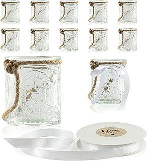 """WeddingTree 12 x photophores """"romance"""" petit avec cordon et ruban décoratif blanc - Bougeoirs - hauteur 7 cm - Déco de tab..."""