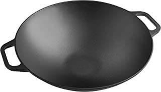 Victoria Cast Iron Wok. Stir Fry Pan. Smooth Balanced Base Seasoned with 100% Kosher Certified Non-GMO Flaxseed Oil, 14 Inch, Black