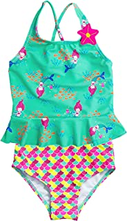 zdhoor Kids Girls One-Piece Mermaid Swimsuit Princess Ruffled Tankini Set Hawaiian Swimming Bathing Suit
