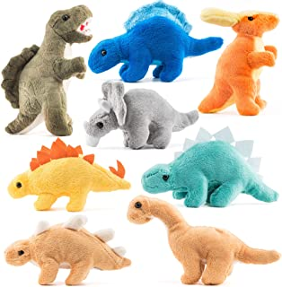 Prextex Plush Dinosaurs 8 Pack 5'' Long Great  Kids Stuffed Animal Assortment Great Set for Kids