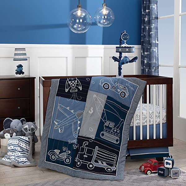Lambs Ivy Metropolis 4 Piece Crib Bedding Set Blue Gray White