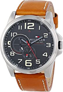 Tommy Hilfiger Men's 1791004 Stainless Steel Watch with Tan Leather Band