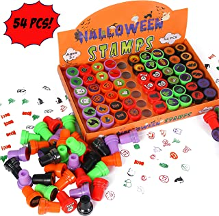 54 Piece Halloween Stamps for Kids (27 Different designs, Self Inking Stampers, Trick or Treat Toys Stamps, Ghost Stamp) for Halloween Party Favors, Halloween Prizes, Halloween Goodie Bag Fillers