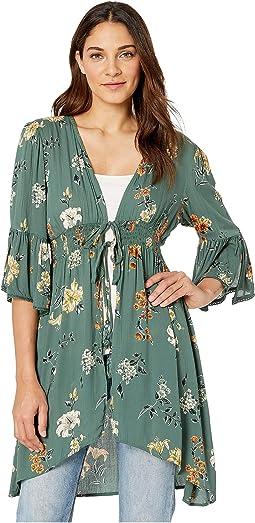 3/4 Sleeve Floral Print Kimono with Stretch Waist