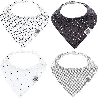 Parker Baby Bandana Drool Bibs - 4 Pack Gray Baby Bibs for Boys, Girls, Unisex -