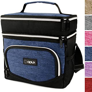 OPUX Insulated Dual Compartment Lunch Bag, Double Deck Lunch Box for Men Women Kids| Soft Leakproof Lunch Tote Cooler for Work Office School | Medium Reusable Lunch Pail, Fits 8 Cans (Heather Navy)