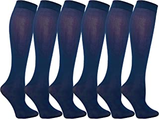 Queen Size Trouser Socks for Women, 6 Pairs Plus Stretchy Opaque Knee High Dress Sock