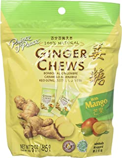 5 Packs of Prince Of Peace 100 Percent Natural Ginger Candy Chews (Mango, 3 ounce)
