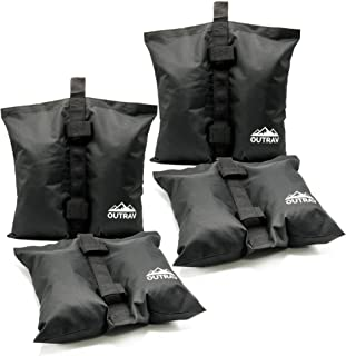 Outrav Canopy Sand Bags - Tent Weights for Outdoor Canopy, Sun Shelter, Pop Up Tent, Gazebo, Party Tent - Easy to Use, Heavy Duty Strong Material - Sandbag Gazebo Weights, Pack of 4 (Black)