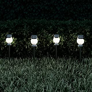 """Pure Garden 50-LG1065 Solar Path Lights-13.8"""" Stainless Steel Outdoor Stake Lighting for Garden, Landscape, Patio, Driveway, Walkway Set of 4 (Silver)"""