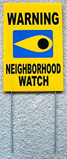 1 Pcs Hair-Raising Unique Warning Neighborhood Watch Yard Signs Surveillance Security Lawn Burglar Indoor Protect Poster House Trespassing Pole Sign Fence Property Stakes Decor Size 8