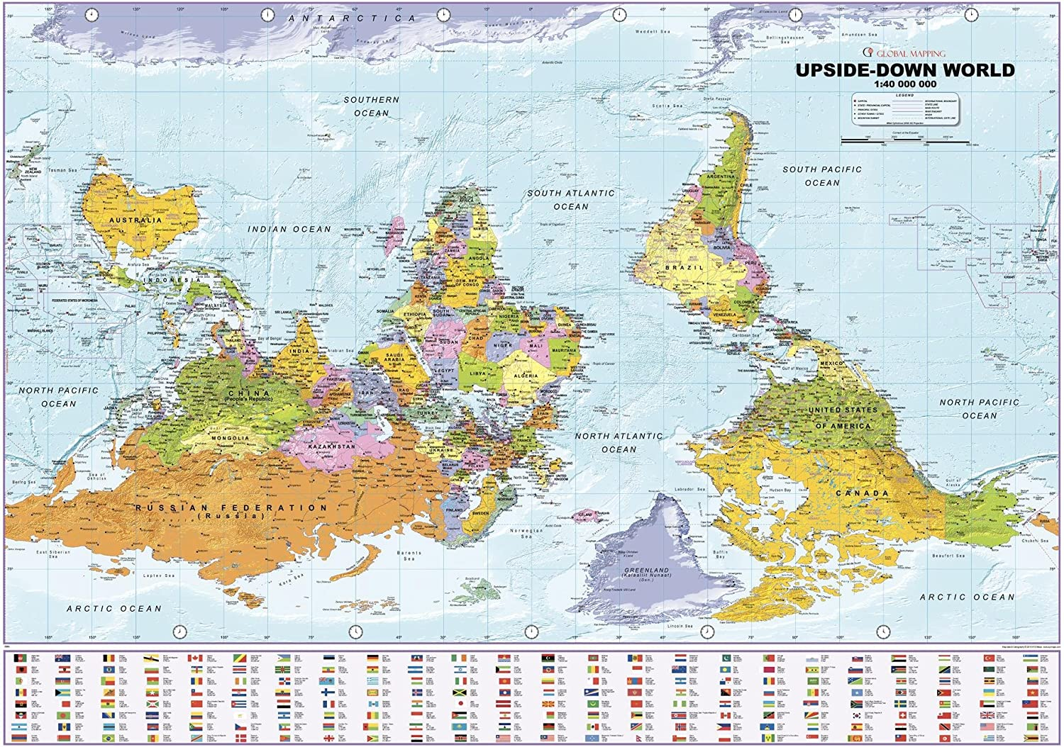 Ranking TOP11 Upside Down World Political Wall Map 39.25