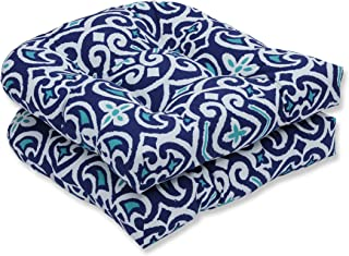 Pillow Perfect Outdoor | Indoor New Damask Marine Wicker Seat Cushion (Set of 2), 2 Piece