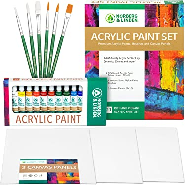 Acrylic Paint Set -12 Acrylic Paints, 6 Paint Brushes for Acrylic Painting, 3 Painting Canvas Panels - Premium Art Supplies for Adults Canvas Painting