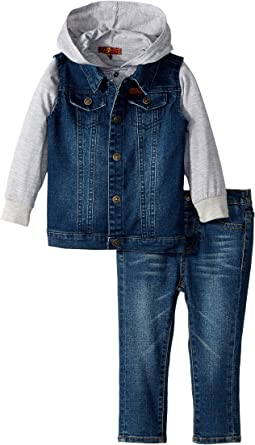 7 For All Mankind Kids - Vest/T-Shirt Hoodie/Jeans Set (Infant)