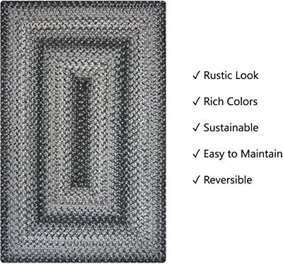 Flint Hill Premium Jute Braided Area Rug by Homespice, 27 x 45 Rectangular Grey, Reversible, Natural Jute Yarn Rustic, Country, Primitive, Farmhouse, Coastal Style - 30 Day Risk Free Purchase