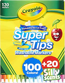Crayola Super Tips 100ct with 20ct Silly Scents, Amazon Exclusive, 120 Markers, Gift for Kids
