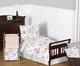 Sweet Jojo Designs 5-Piece Blush Pink, Grey and White Shabby Chic Watercolor Floral Girl Toddler Kid Children's Bedding Set Comforter, Sham and Sheets with Rose Flower Polka Dot