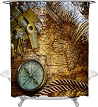 Vintage Nautical Decarative Shower Curtain with Still Life Compass Sextant and Old World Map, Classic Marine Themed Home Decor for Men and Boys, Machine Washable Polyester, Gold, 72 by 72 Standard