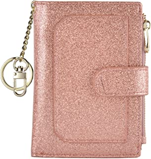 Womens Wallets RFID Small Compact Bifold Leather Card Holder Zip Pocket Keychain