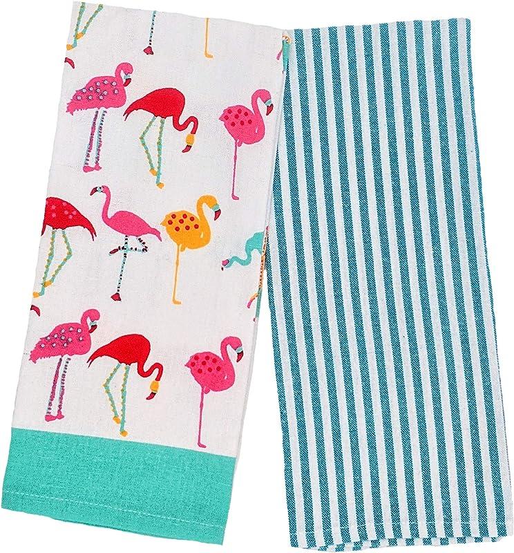 Kitchen Dish Towels Set Of 2 Linen Tea Towels Colorful Flamingos