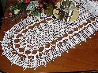 Centro centrotavola ovale pizzo ad uncinetto misura 60 x 27 cm fatto a mano di cottone bianco nuovo idea regalo nozze pasq...