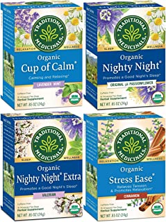 Traditional Medicinals Relaxation Tea 4 Flavor Variety Pack (Pack of 4)