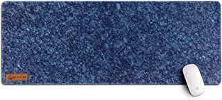 Gray Rhino Box Soft Extended Desk Waterproof Pad with Stitched Edge, Non-Slip Rubber Base, Premium Marble Textured Multi-Purpose Desk Pad for Laptop, Office & Home (Dark Blue, L)