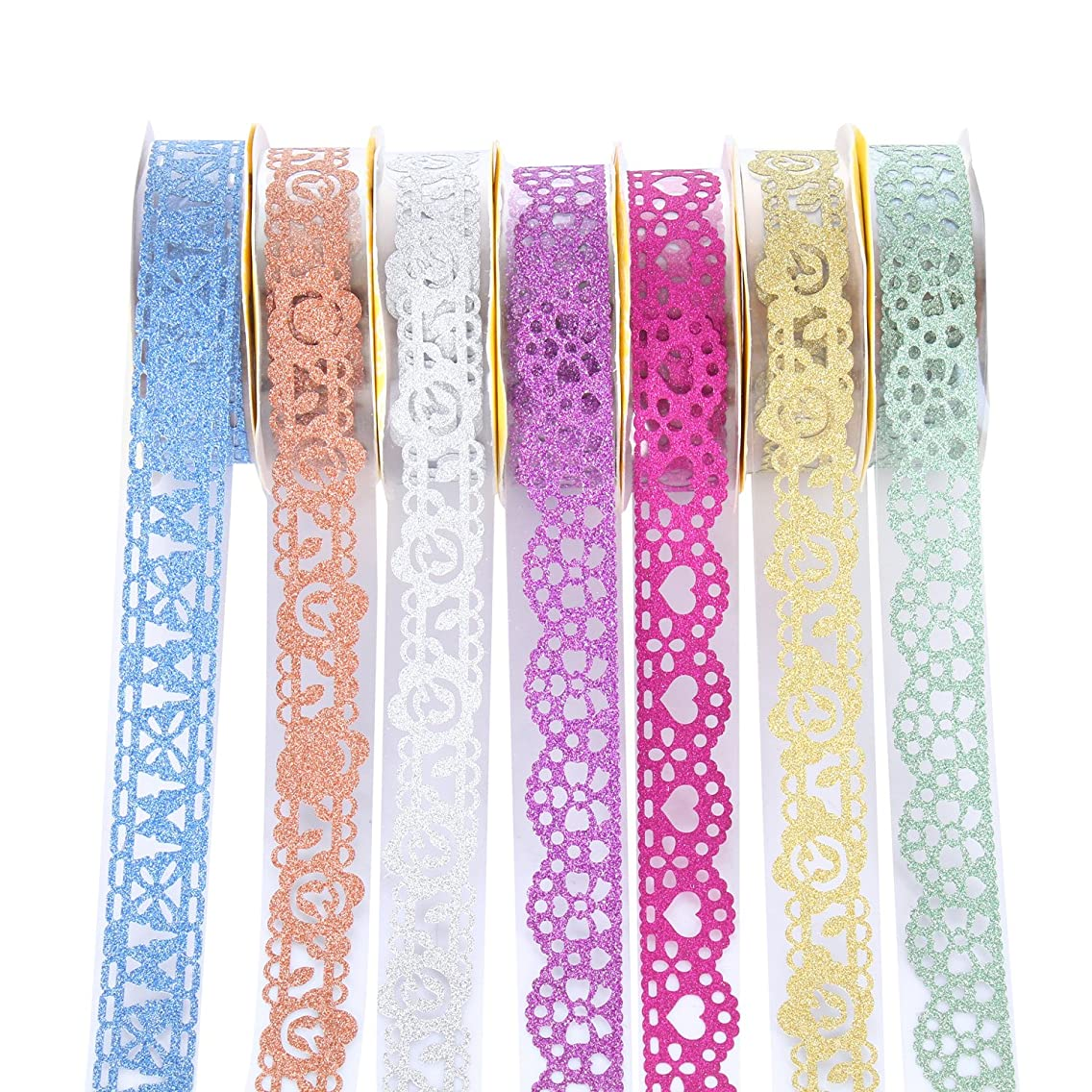 moinkerin 7 Rolls Decorative Sticky Adhesive Lace Tape Arts and Crafts self Adhesive Tape Masking Tape for Kids,Students DIY, Crafting, Scrapbooking, Card Making