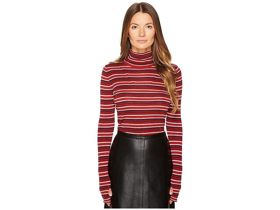 Sonia Rykiel Striped Wool Turtleneck Sweater (Terracotta/Multicolor) Women