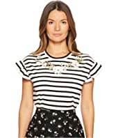 Kate Spade New York - Embroidered Ruffle T-Shirt